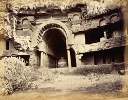 Exterior view of the Buddhist Chaitya Hall (Cave XII) and adjoning Vihara, Bhaja Caves, Pune District 588